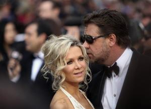 Russell Crowe and wife Danielle Spencer arrive for the premiere of the film Robin Hood in Cannes, France, Wednesday, May 12, 2010.