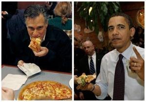 Mitt Romney takes a bite of pizza during lunch in Newport, NH, Dec. 20, 2011, and then-Senator Barack Obama takes a bite in Corvallis, Ore., March 21, 2008.