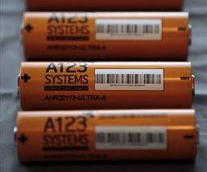 This Thursday, Aug. 6, 2009, file photo, shows A123 Systems Inc.'s high power Nanophospate Lithium Ion Cell for Hybrid Electric Vehicles batteries in Livonia, Mich.
