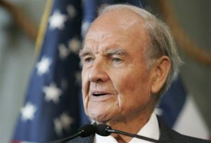 In this April 18, 2009, file photo, former Sen. George McGovern delivers remarks at the National World War II Museum in New Orleans.