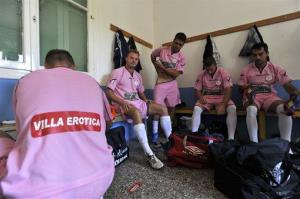 Voukefalas players get ready for a game before a local championship match in the city of Larissa, central Greece.