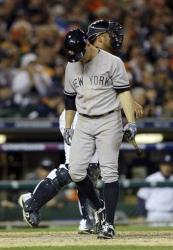 New York Yankees' Brett Gardner strikes out in the seventh.