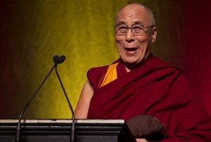 The Dalai Lama delivers a lecture on international affairs at Brown University.