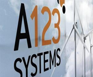 An A123 Systems Inc. logo is seen in a file photo in Livonia, Mich.