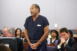 O.J. Simpson speaks during his sentencing hearing at the Clark County Regional Justice Center in Las Vegas, Friday, Dec. 5, 2008.