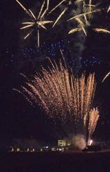 In this picture taken Wednesday, Oct. 17, 2012, fireworks are seen in the sky above the Borgo Egnazia resort, where Justin Timberlake and Jessica Biel reportedly got married, in Savelletri, Italy.