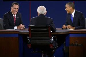 Republican presidential nominee Mitt Romney and President Barack Obama react to moderator Bob Schieffer during the third presidential debate at Lynn University, Monday, Oct. 22, 2012, in Boca Raton, Fla.