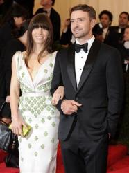 In this May 7, 2012, file photo, Jessica Biel and Justin Timberlake arrive at the Metropolitan Museum of Art Costume Institute gala benefit in New York.