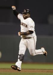 San Francisco Giants' Pablo Sandoval reacts after hitting a home run during the fifth inning.