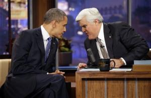 President Barack Obama talks with Jay Leno, right, during a commercial break Wednesday, Oct. 24, 2012, in Burbank, Calif.