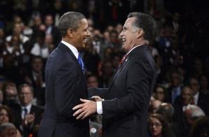 President Barack Obama and Republican presidential nominee Mitt Romney  laugh at the conclusion of the the third presidential debate at Lynn University, Monday, Oct. 22, 2012, in Boca Raton, Fla.