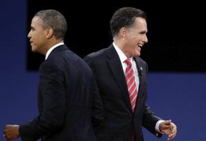 President Obama and Mitt Romney pass each other after the third presidential debate at Lynn University, Monday, Oct. 22, 2012, in Boca Raton, Fla.