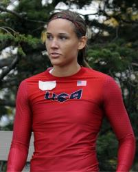 This Oct. 5 file photo shows Lolo Jones waiting for her run at the US women's bobsled push championships in Lake Placid, NY.