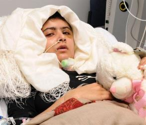 Pakistani shooting victim Malala Yousufzai is seen recovering in Queen Elizabeth Hospital in Birmingham, England.