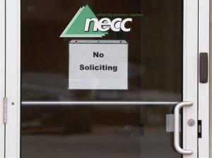 In this Thursday, Oct. 4, 2012, file photo, a sign requesting No Soliciting hangs on the door of the New England Compounding Center.