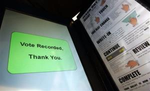 In this Dec. 5, 2007 file photo, a message is posted on a Sequoia Voting Systems' electronic voting machine in San Francisco.