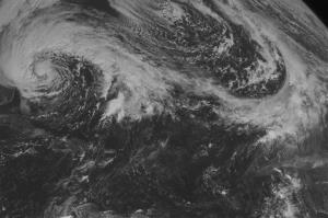 This NOAA satellite image taken Saturday, October 27, 2012 at 10:45 AM shows Hurricane Sandy along the eastern United States coastline tracking toward the north with maximum sustained winds of 75 mph.