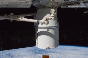 SpaceX's Dragon is berthed to the Earth-facing side of the International Space Station's Harmony node Wednesday Oct. 10, 2012.