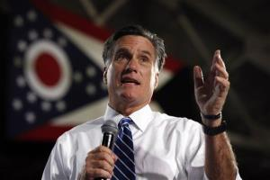 Republican presidential candidate and former Massachusetts Gov. Mitt Romney campaigns at the Celina Fieldhouse in Celina, Ohio, Sunday, Oct. 28, 2012.