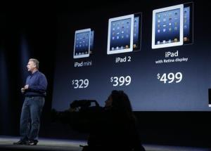 Phil Schiller, Apple's senior vice president of worldwide product marketing, displays the prices of the company's various iPad products in San Jose, Calif., Tuesday, Oct.  23, 2012.