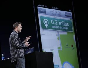 Apple's Scott Forstall demonstrates Turn By Turn Directions on OS6 at the Apple Developers Conference in San Francisco, Monday, June 11, 2012.