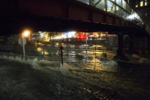 Sea water floods the entrance to the Brooklyn Battery Tunnel in New York.