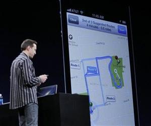 Apple's Scott Forstall talks about the new Apple Turn By Turn Directions at the Apple Developers Conference in San Francisco, June 11, 2012.
