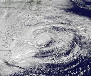 This NOAA satellite image taken Oct. 29 shows Hurricane Sandy off the Mid-Atlantic coastline.