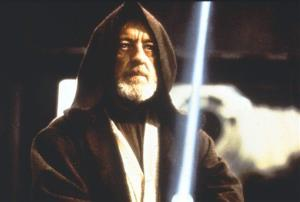 This 1977 image provided by 20th Century-Fox Film Corporation shows Obi-Wan Kenobi confronting Darth Vader.