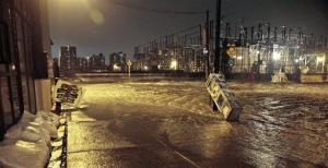 Streets around a Con Edison substation are flooded as the East River overflows into the Dumbo section of Brooklyn.