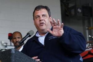 New Jersey Gov. Chris Christie addresses a gathering Saturday, Oct. 27, 2012, in North Wildwood, NJ, as he lays out preparation plans for Hurricane Sandy.