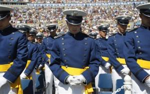 U.S. Air Force Academy Cadets of the Class of 2012, lower their heads during the Invocation at the start of the commencement ceremony, Wednesday, May 23, 2012, in Colorado Springs, Colo.