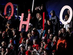 Supporters spell out Ohio as they cheer for  Mitt Romney Friday in West Chester, Ohio.