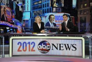 This photo released by ABC shows Diane Sawyer, left, and George Stephanopoulos during election night coverage  early Wednesday, Nov. 7, 2012, from ABC News' Times Square Studios in New York.