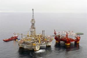 The Statoil hotel rig Flotel Superior, right,  is seen alongside the Njord A-platform in the Norwgian Sea.
