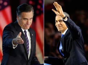 In this photo combo, Mitt Romney gestures during his election night rally in Boston, and President Barack Obama waves to the crowd of supporters at his election night party in Chicago.