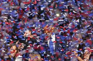 That's a victorious Barack Obama somewhere in that confetti.