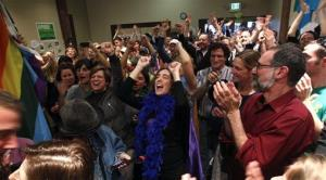 Supporters of Referendum 74, which would uphold the state's new same-sex marriage law, cheer at a news conference Wednesday, Nov. 7, 2012, in Seattle. Supporters of gay marriage in Washington state declared victory Wednesday, saying they don't see a way for their opponents to prevail as votes continue to trickle...
