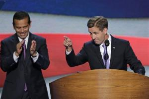 Beau Biden, Attorney General of Delaware and son of Vice President Joe Biden points towards the delegates before his nominates his father during the Democratic National Convention in Charlotte, N.C.