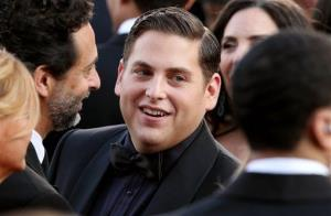 Jonah Hill arrives before the 84th Academy Awards on Sunday, Feb. 26, 2012, in the Hollywood section of Los Angeles.