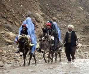 Afghan women ride donkeys with their children, on the outskirts of Ab Kamari, the provincial capital of Badghis province, west of Kabul, Afghanistan, Feb. 2, 2012.