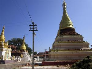 Pagodas in Kyaukmyaung, east of Shwebo, Burma, are seen destroyed after a strong earthquake on Sunday, Nov. 11, 2012. The magnitude-6.8 quake collapsed a bridge and a gold mine.