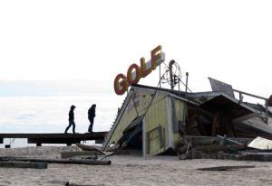 A mini-golf course on the boardwalk in Point Pleasant Beach, NJ, shown here on Nov. 1, 2012, was destroyed by Hurricane Sandy.