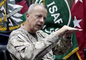 This July 22, 2012 photo shows Gen. John Allen, top commander of the NATO-led International Security Assistance Forces (ISAF) and US forces in Afghanistan, during an interview in Kabul.