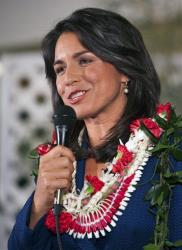 Democrat Tulsi Gabbard gives her victory speech after winning Hawaii's 2nd Congressional District.