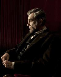 Daniel Day-Lewis portrays Abraham Lincoln in the film Lincoln.
