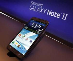 The new Samsung Galaxy Note II sits on display during a launch event, Oct. 24, 2012, in New York.