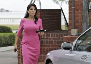 Jill Kelley leaves her home in Tampa, Fla. yesterday.