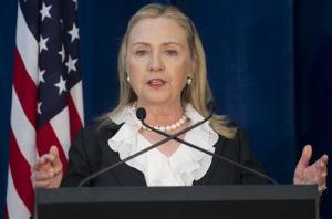 Hillary Rodham Clinton speaks during a joint press conference with Australian Foreign Minister Bob Carr and Australian Minister of Defense Stephen Smith in Perth, Australia, Wednesday, Nov. 14, 2012.