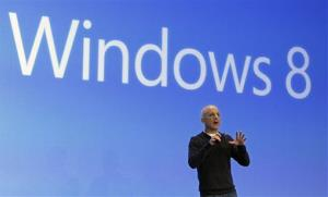 Steven Sinofsky, president of the Microsoft Windows group, delivers his presentation at the launch of Microsoft Windows 8, in New York,  Thursday, Oct. 25, 2012.